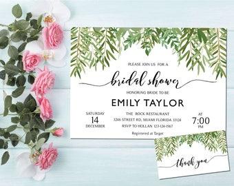 Bridal Shower Invitation, Greenery Wedding Printable , Greenery Bridal, Editable Bridal Shower Invitation, Greenery, Instant Download, ABR03
