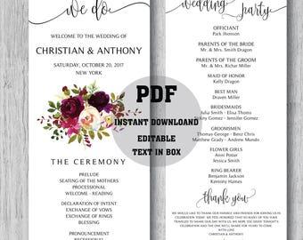 Wedding program template, Boho wedding program, Wedding ceremony programs, Wedding Program Fan, We do, ceremony programs, PDF Download - 02