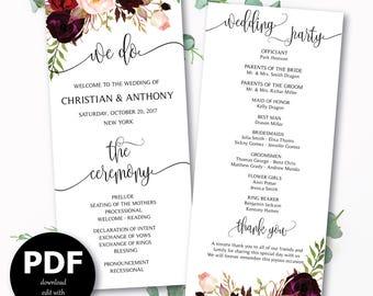Wedding program template, Boho wedding program, Wedding ceremony programs, Wedding Program Fan, We do, ceremony programs, PDF Download - #30