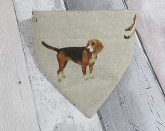 Beagle Dog Bandana, dog clothes, dog accessories, slip on bandana, pet accessories, detachable bandana, collar accessory