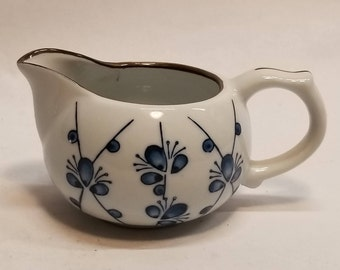 Vintage China Creamer in Blue, White & Brown Japanese Pattern