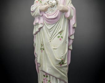 """12"""" Sacred Heart of Jesus Antique Porcelain Statue Our Lord Christ Figure 5"""