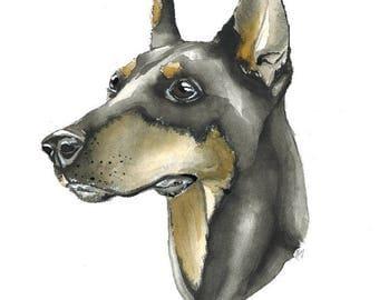 Watercolor Doberman Print