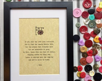 "Original ""Lonely Hearts Cafe"" PoemsbyClou Print in Frame"