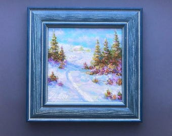 Original oil painting winter countryside mini landscape classical fine art framed artwork ready to hang home decor snowy pine Inactive