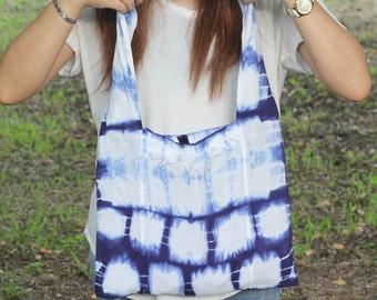 Tie dye cotton tote bag , Indigo bag , Shibori Bag (B01)