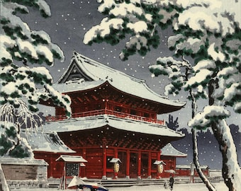 "Japanese Art Print ""Zozoji Temple in Snow"" by Tsuchiya Koitsu, woodblock print reproduction, asian art, cultural art, winter, snowfall"