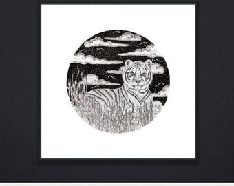 Hand drawn Tiger print