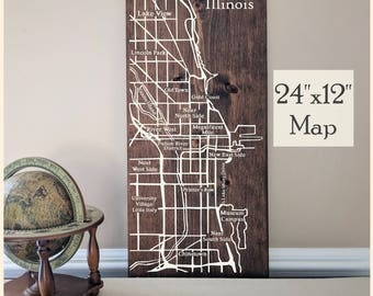 Chicago Map, Large Wooden Map, Chicago Map Wall Art, Chicago City Map, Wooden Street Map, Painted Wood Map, House Address Map by Novel Maps