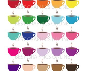 80% OFF SALE Commercial use clipart Heart coffee cups clipart Tea cup clipart Coffee mug digital clipart coffee cup clipart illustration VL7