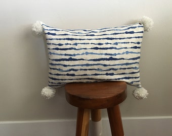 Indigo/ faux leather Pom Pom pillow cover