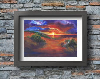 Seaside Art print, Acrylic Landscape Painting, Beautiful Landscape, Seaside Art, Art Landscape, Summer Seascape Print, Acrylic Artwork, Cozy