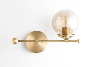 Modern Wall Sconce - Brass Sconce Lights - Mid Century Modern - Edison Bulb Light - Gold Sconces