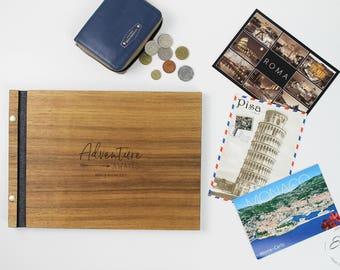 Travel Photo Album , Travel Scrapbook Album , Travel album , Wood Travel Photobook, Personalized, Custom Travel Book, Travel Gift