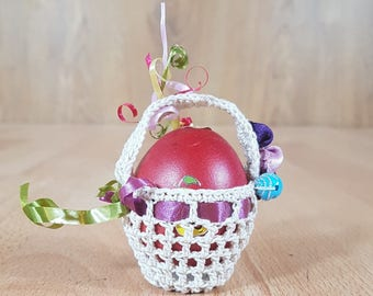 Hand knitting - Easter basket - Basket - Egg basket.