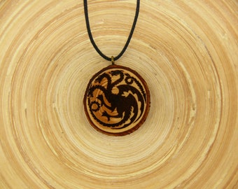 "Soul slices Game of Thrones ""Haus Targaryen"" wooden necklace, Vintage * Ethno * hippie * vegan * Organic *"