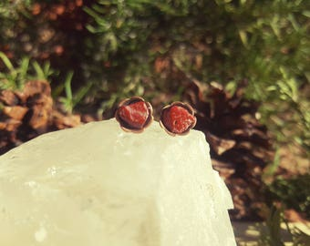 CRANBERRY - Red Jasper Gemstone Earrings, Red Jasper Stone Studs, Red Protection Stone, Gifts Under 20, Gemstone Gift Idea, Minimalist