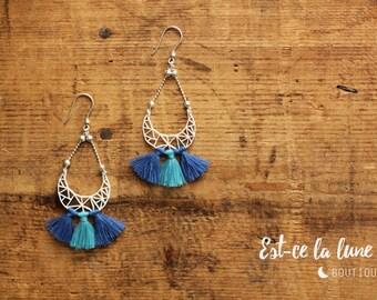 """SILVER 925 - Earrings / Earrings """"Geometric Moon & tassels"""" - blue"""