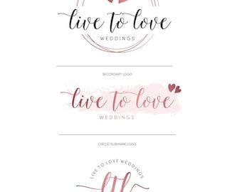 Premade logo circles, Photography logos and watermarks, Watercolor Wedding Logo Design, Rose Gold Logo, Premade branding kit, Heart logo 023