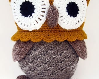 Owl Crochet Amigurumi, Brown Crochet Owl, Large Stuffed Owl Toy, Crochet Toys, Crochet Stuffed Animals, Crochet Toy Owl, Owl Soft Toy