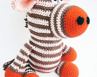 Striped Crochet Zebra Toy, Orange Crochet Zebra, Stuffed Zebra Toy, Zebra Plushie, Crochet Stuffed Animals, Amigurumi Zebra Soft Toy