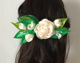 Rose Flower Hair Clip, Rose Flower Barrette, Hair Clip Accessories