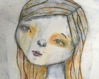 "Alchemy Soul Arts ""Meredith is a Sensible Girl"" 8.5""x11"" Mixed Media Portrait Art Print"