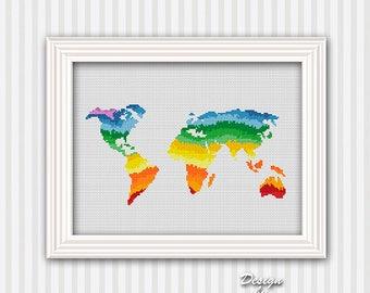 World Map Cross Stitch Pattern Rainbow Cross Stitch Modern Pattern PDF Watercolor Effect Decor Embroidery Rainbow Color World Map Silhouette