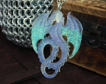 Glitter Ice Dragon Resin Necklace