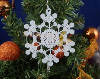 Tree Ornaments-snowflake incl. hanging pack of 10
