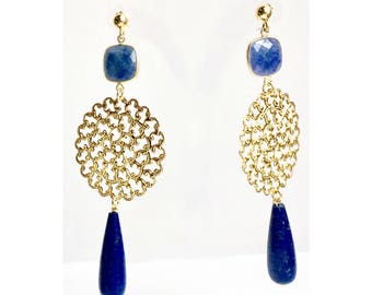 Azure blue Jade and Lapis  earrings