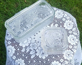 Set of two Federal Glass refrigerator containers
