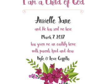 Personalized LDS Nursery Wall Art Print - I am a Child of God
