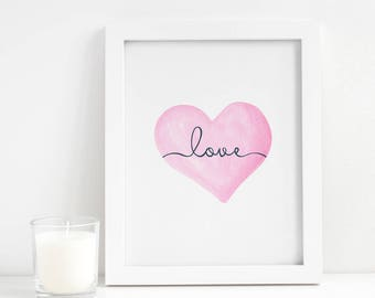 Valentine's Day Printable - Valentine's Day Heart - Heart Printable - Heart Decor - Pink Heart Print - Love Printable - Anniversary Gift