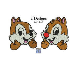 Chip and Dale Disney Embroidery Designs - 2 designs INSTANT DOWNLOAD