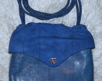 Blue Suede and Leather Vintage Handbag