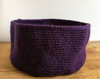 Large Crochet Basket in Eggplant | Small Storage