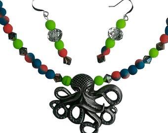 Beautiful Handmade Wild Octopus Jewelry Set