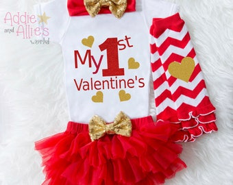My 1st Valentines baby girl, Baby First Valentines Bodysuit, Baby First Valentines Outfit, Baby Valentine's Tutu, Baby Valentine Outfit, V1G