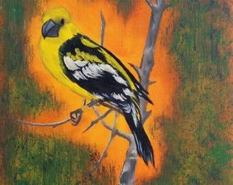 Little Yellow Bird - Oil Painting