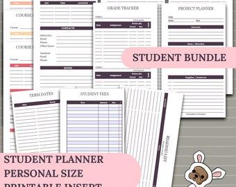 Student Planner Bundle -  Back to school 2017 / 2018 -  6 sets in 1 kit - personal size planner insert - printable digital download