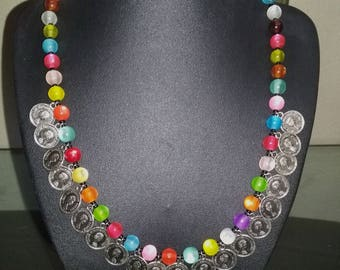 Multicolored necklace and charms