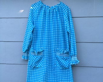 Vintage Turquoise White Gingham Smocked Ruffle Cuffs And Pockets Long Sleeve Sheath Dress