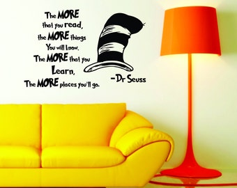 Dr Seuss Quote- The more your read. Wall decal