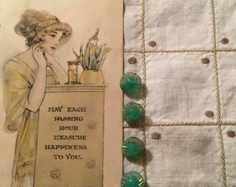 Vintage Green Glass Buttons Set/4