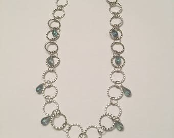 Hammered Circles with Iris Teardrops Necklace