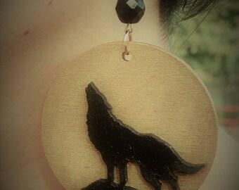 "Hand painted wood earrings ""Wolf"""
