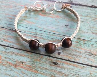 Boho / Beige Hemp Cord / Brown Wood Beads / Beach / Beaded Bracelet / Free U.S. Shipping!