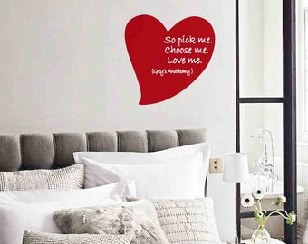Valentine's Heart, Grey's Anatomy, Quote TV Series, English Quote, Heart Wall Sticker, Fridge Magnet, Heart TV Series, Gift, Wall Decal
