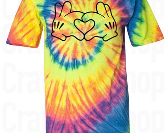 Mickey Heart Hands Shirt. Mickey Mouse Hands Shirt. Mickey Mouse Hands. Heart Hands Tie Dye Shirt. Disney Shirt. Disney Vacation Shirt. S-3X